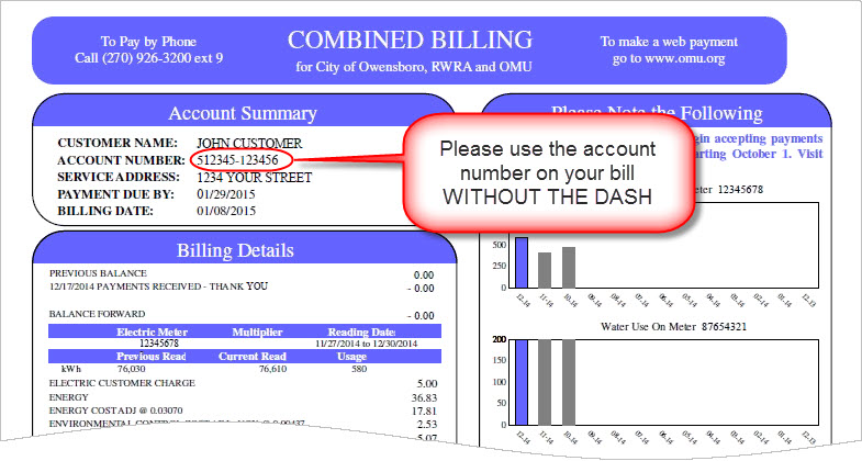 You can find your account number on your bill as shown to the left.<br>Do not include the dash in the account number, for example, 512345-123456 should be entered as 512345123456